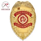 "Rothco Deluxe Gold Volunteer Firefighter Badge - Gold-Plated, Sturdy Pin, Red Insignia - Dimensions 3 1/8""x2 1/4"""