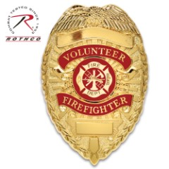 """Rothco Deluxe Gold Volunteer Firefighter Badge – Gold-Plated, Sturdy Pin, Red Insignia – Dimensions 3 1/8""""x2 1/4"""""""