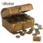 Historic Coins Wooden Treasure Chest