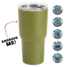 Large Double Walled Matte Olive Drab Insulated Tumbler– 30 Oz