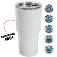 Large Double Walled Matte White Insulated Tumbler– 30 Oz