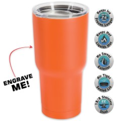 Large Double Walled Matte Orange Insulated Tumbler – 30 Oz