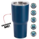 Large Double Walled Matte Blue Insulated Tumbler – 30 Oz