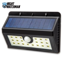 Night Watchman Solar Outdoor Motion Wall Light - 20 LED Lights, Three Lighting Modes, Made Of Tough ABS, Li-Ion Battery