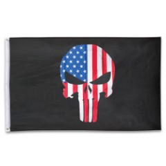 USA Punisher Flag – Polyester Construction, Dye Sublimated, Fade-Resistant, Hanging Grommets – Dimensions 3'x5'