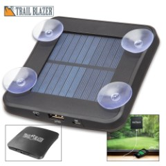 """Trailblazer Portable Solar Charger And Power Bank - 1800 MAH, Polymer Li-Ion Battery, Micro USB Cable Included, Window Suction Cups - Dimensions 4 1/2""""x 4 1/2"""""""