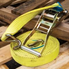 "2"" Yellow Tie-Down Ratchet Strap - Used, Heavy-Duty Canvas Webbing, Metal Ratchet Buckle, J-Hook"