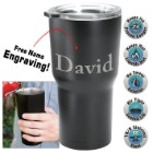 Black Stainless Steel Tumbler – Double-Walled Vacuum Insulated - 22 Oz. - Free Engraving