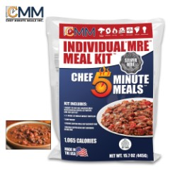 SHTF Five Minute Meal Beef Chili With Beans - Individual Meal, Heating Pouch And Activator, Made in USA - 1,065 Calories