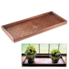 Multi-Purpose Copper-Finished Tray w/ Star Relief Pattern