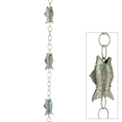 Fish Rain Chain - Blue Verde Copper