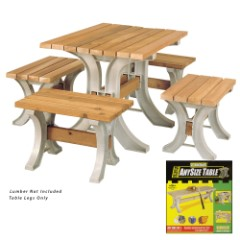 """2 x 4 Basics Patio Table Kit - Includes All Hardware, Instructions; Just add Lumber - Screwdriver, Saw Only Tools Required - Only Straight Cuts - Customize Length up to 8' - 29"""" Tall x 30"""" Wide"""