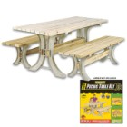 2x4 Basics Picnic Table Building Kit – Makes Table And Two Benches, Uses 2x4's, Weather-Resistant Resin Construction