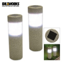 LED Solar Stone Pillar Lights Set Of Two