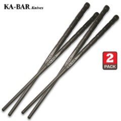 "KA-BAR Chopsticks - Two Sets Per Pack, Made of tough Gilamid, Dishwasher Safe, Multi-Purpose Dining Tools - Length 9 1/2"""