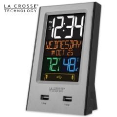La Crosse Technology Multicolor Digital Alarm Clock and USB Charging Station