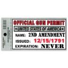 Official Gun Permit 3x10 Bumper Sticker