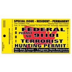 Federal Terrorist Hunting Permit Bumper Sticker