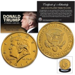 Donald Trump 2017 Inauguration Tribute Coin | Clad in 24K Gold | Mimics JFK Half Dollar