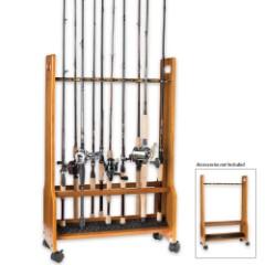 Heavy Duty Rolling Floor Rack – 16 Rods