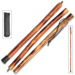 Bear Collapsible Wooden Hiking Cane With Nylon Pouch – Natural Wood, High-Gloss Finish, Leather Wrist Strap – Length 55""