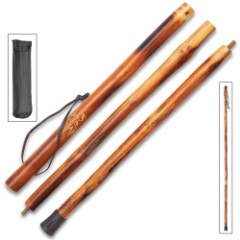 Deer Collapsible Wooden Hiking Cane With Nylon Pouch – Natural Wood, High-Gloss Finish, Leather Wrist Strap – Length 55""
