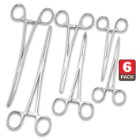 Six-Piece Ultimate Hemostat Set - Stainless Steel Construction, Serrated Tip, Self-Locking Feature, Variety Of Uses