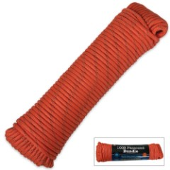 100 ft. Paracord Bundle 550 Lb. Seven Strand Orange With Reflective Tracer