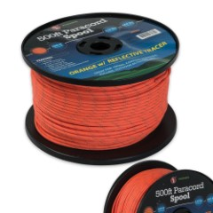 500 ft. Paracord Spool 550 Lb. Seven Strand Orange With Reflective Tracer