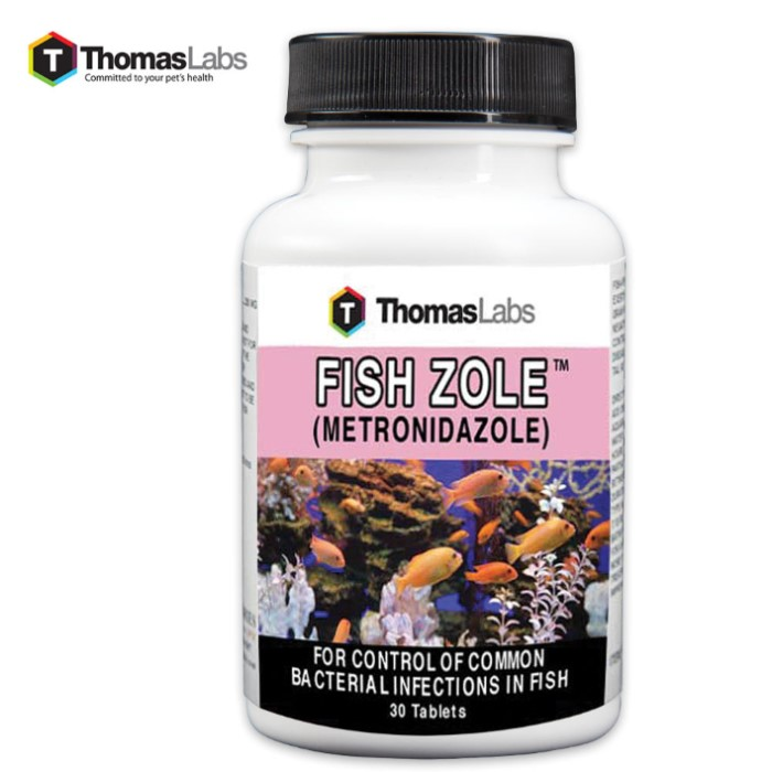 Fish Zole 250 mg Metronidazole Antibiotics - 30-Count Bottle | BUDK.com - Knives & Swords At The ...