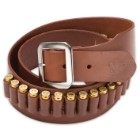 Mahogany Leather Gun Belt - 20 Cartridge Loops