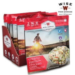 Wise Creamy Pasta And Veggies With Chicken - Two Servings, 15 Grams Protein, Seven-Year Shelf-Life, 2,880 Calories, Made In USA