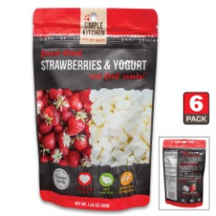 Simple Kitchen Strawberries And Yogurt - Six-Pack, All-Natural Ingredients, Four-Servings Per Pouch, 140 Calories Per Pouch