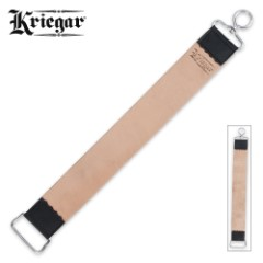 "Kriegar Double Sided Hanging Strop - Smooth Buffalo Leather, Coarse Suede - Swivel Hook - Yields Sharpest Blade Edges Possible - Great for Pocket Knives, Straight Razors & More - 2"" x 18"""