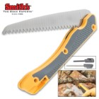 Smith's Folding Limb Saw And Sharpener - Strong Teeth, Soft Grip Handle, Spring-Loaded Mechanism, Fire Starter