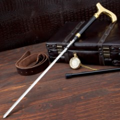 Gent Sword Cane Gold & Black