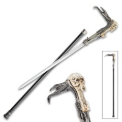 Screaming Skull Fantasy Sword Cane – Stainless Steel Blade, Sculpted Resin And Metal Handle, No-Slip Toe, Aluminum Shaft – Length 35 1/2""