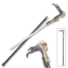 "Screaming Skull Fantasy Sword Cane – Stainless Steel Blade, Sculpted Resin And Metal Handle, No-Slip Toe, Aluminum Shaft – Length 35 1/2"""