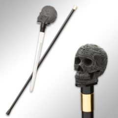 "Chinese Dragon Skull Head Sword Cane - Stainless Steel Blade, Resin Handle, Aluminum Shaft, Rubber Toe - Length 37"""