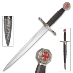 """Crusader Ebony Prince Dagger With Scabbard - Stainless Steel Display Blade, ABS And Metal Handle - Length 14 1/2"""""""