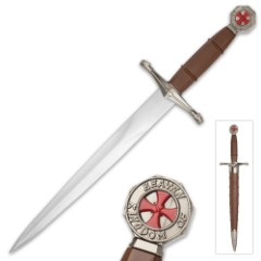 """Crusader Sacred Duty Dagger With Scabbard – Stainless Steel Display Blade, ABS And Metal Handle – Length 14 1/2"""""""