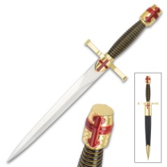 Gold Crusader Helmet Dagger And Sheath - Stainless Steel Display Blade, ABS And Metal Handle - Length 14 1/2""