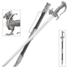 "Dreadfire Dragon Decorative Sword And Metal Accented Sheath - Stainless Steel Blade, Satin Finish, Intricate Dragon Shaped Handle - 35 1/4"" Length"