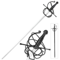Seville Stinger Rapier Display Sword, Scabbard - Spiral Swept Hilt - Renaissance, Late Medieval / Middle Ages, Spanish, French, Italian - 3 Musketeers, Man in Iron Mask - Historical Fencing Dueling