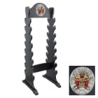 "Sword Stand With Medallion – Displays 16 Swords – Sturdy Wooden Construction; Attractive Black Lacquered Finish; Decorative Medallion – 13""x42"""