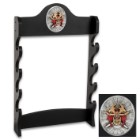 """Sword Stand With Medallion – Displays 4 Swords – Sturdy Wooden Construction; Attractive Black Lacquered Finish; Decorative Medallion – 7""""x20"""""""