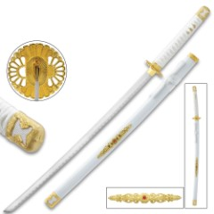 White Lotus Katana With Scabbard - High Carbon Steel Blade, Metal Alloy Fittings, Wooden Scabbard - Length 39""