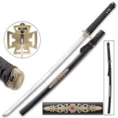 Black Tower Katana With Scabbard - High Carbon Steel Blade, Metal Alloy Fittings, Wooden Scabbard - Length 39""