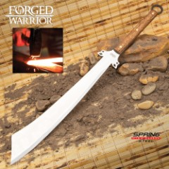 """Forged Warrior Dadao Sword With Sheath - Spring Steel Blade, Hardwood Handle, Brass Studs, Open-Ring Pommel - Length 31 3/4"""""""