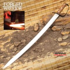 "Forged Warrior Saber Sword With Sheath - Spring Steel Blade, Hardwood Handle, Brass Studs, Metal Handguard - Length 29 1/2"""